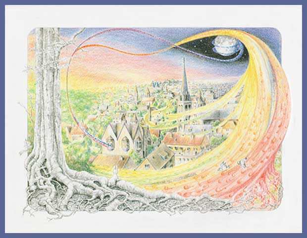 City Illustration from Once in a Blue Moon by Jacquelyn E Lane
